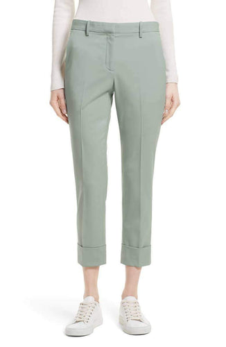 Theory Women's Wool Cropped Cuffed Straight Leg Stretch Pants, Winter Green - 12 - Luxe Fashion Finds