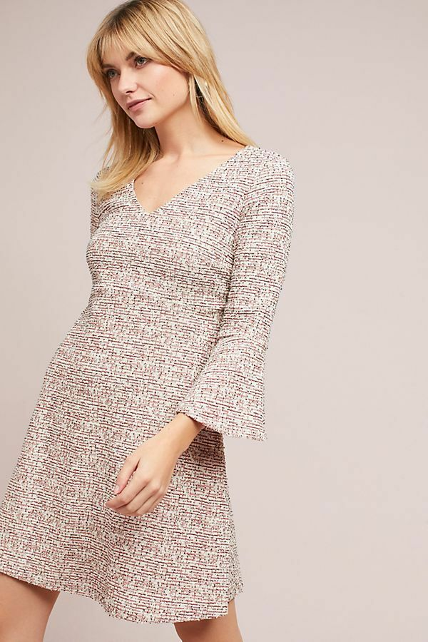 Anthropologie Maeve Susie V-Neck Long Bell Sleeve Cream Cotton Swing Dress. - Luxe Fashion Finds