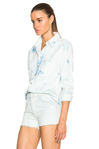 MOTHER Women's Double Foxy Cotton Distressed Grunge White Shirt - XS. - Luxe Fashion Finds