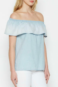 Soft Joie  Women's Vilma Off Shoulder Ruffle Chambray Cotton Lyocell Blue Blouse. - Luxe Fashion Finds