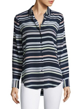 Load image into Gallery viewer, Equipment Women's Essential Silk Blue Striped Button Up Long Sleeve Shirt - XS - Luxe Fashion Finds