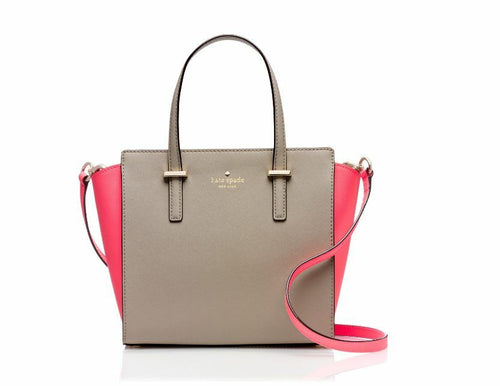 Kate Spade Small Hayden Leather Two-Tone Satchel Crossbody, Beige/Pink - Luxe Fashion Finds