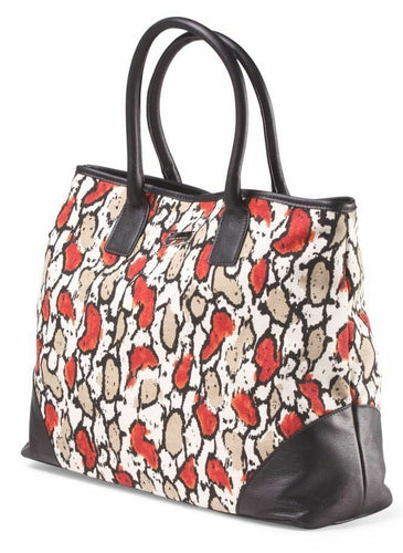 Laura Dimaggio Red Foral Print Canvas Leather Large Beige Tote Shoulder Bag - Luxe Fashion Finds