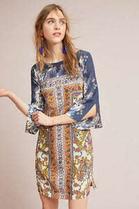 Anthropologie Women's Silk Floral Scarf Print Bell Sleeve Tunic Shift Dress - 0. - Luxe Fashion Finds