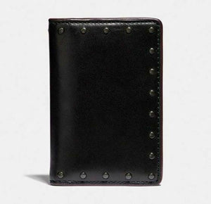 Coach Men's Black Sport Calf Leather Bifold Card Wallet With Rivets #38140 w Box - Luxe Fashion Finds