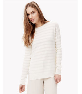 Theory Women's Hilson S Merino Wool Striped Ivory Crew Neck Long Sweater - M - Luxe Fashion Finds