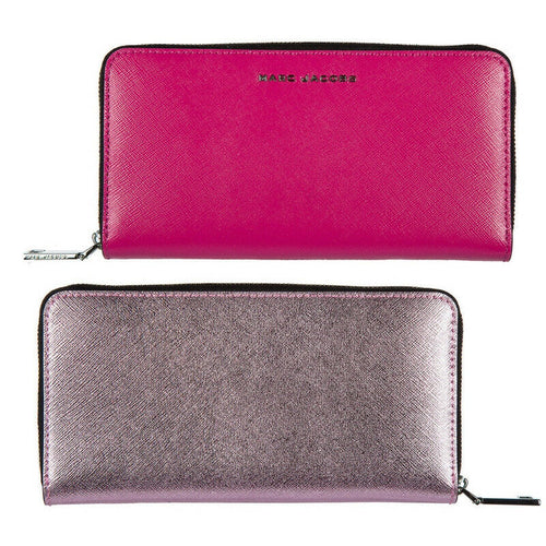 Marc Jacobs 2-Tone Metallic Pink/Magenta Continental Saffiano Zip Leather Wallet - Luxe Fashion Finds
