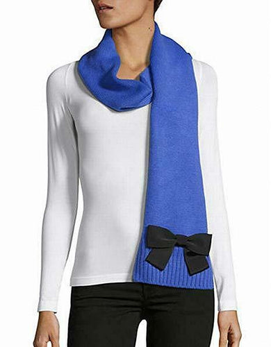 Kate Spade Women's Muffler Long Blue Wool Blend Scarf with Black Grosgrain Bow - Luxe Fashion Finds