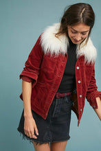 Load image into Gallery viewer, Anthropologie Women's Pilcro Detachable Faux Fur Collar Corduroy Red Jacket - L - Luxe Fashion Finds