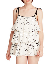 Load image into Gallery viewer, KATE SPADE Two-Piece Ruffled Tiered Dot Charmeuse Baby Doll Pajama Set White - Luxe Fashion Finds