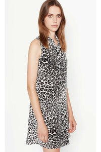 Equipment Women's Mina Silk Black Leopard Sleeveless A-Line Shift Dress - Small - Luxe Fashion Finds