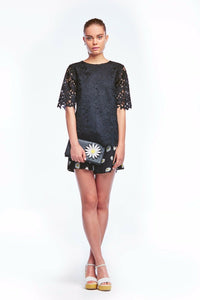 Kate Spade Women's Floral lace Short Sleeve Round Neck Black Blouse - Luxe Fashion Finds