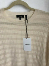 Load image into Gallery viewer, Theory Women's Hilson S Merino Wool Striped Ivory Crew Neck Long Sweater - M - Luxe Fashion Finds