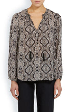 Load image into Gallery viewer, Joie Women's Calla B Silk V-Neck Paisley Print Boho Tassel Tie Black Ivory Blouse - S - Luxe Fashion Finds