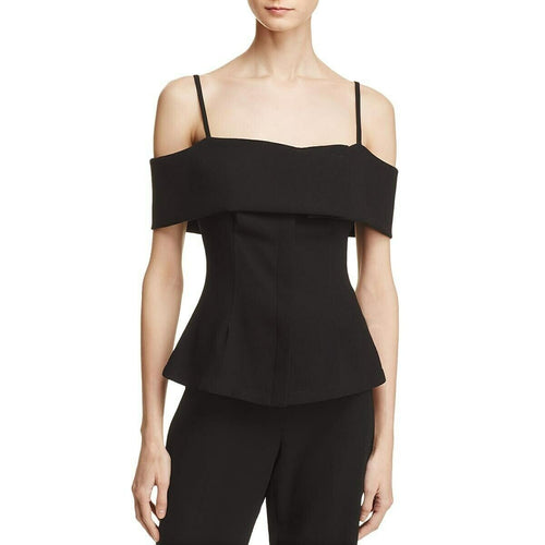 Theory Bertson Women's Cold Shoulder Layered Neckline Fitted Black Crepe Top - Luxe Fashion Finds
