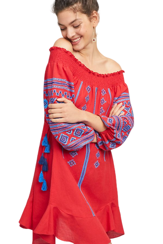 Anthropologie Ranna Gill Off The Shoulder Embroidered Peasant Red Cotton Dress S - Luxe Fashion Finds