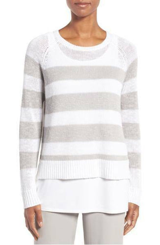 Eileen Fisher Women's Stripe Organic Linen & Cotton White Summer Sweater - XL - Luxe Fashion Finds