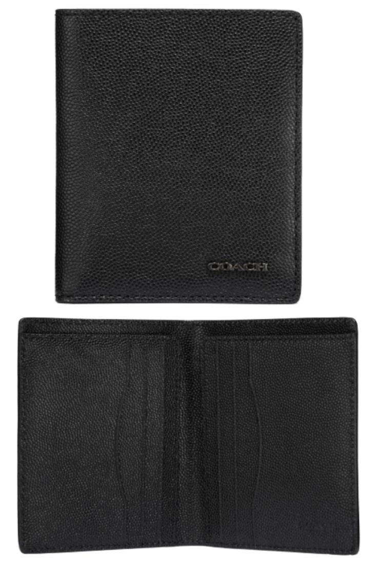 Coach Men's Slim Grain Leather Bifold Black Billfold Wallet #66833 NIB - Luxe Fashion Finds