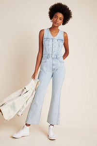 Agolde Women's 70's Fitted Sleeveless Organic Cotton Denim Flared Jumpsuit – 10