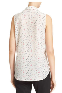 Equipment Women's Adalyn Silk Twinkle Star Sleeveless V-Neck White Shirt - Small
