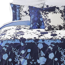 Load image into Gallery viewer, Ted Baker Bluebell 3-Piece Blue Floral Duvet 92x96 Cotton Cover Set, Full/Queen