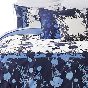 Ted Baker Bluebell 3-Piece Blue Floral Duvet 108 x 96 Cotton Cover Set, KING