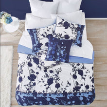Load image into Gallery viewer, Ted Baker Bluebell 3-Piece Blue Floral Duvet 108 x 96 Cotton Cover Set, KING