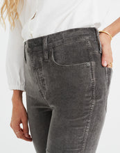 "Load image into Gallery viewer, Madewell Women's 10"" High-Rise Corduroy Skinny Stretch Jeans, Grey - Luxe Fashion Finds"