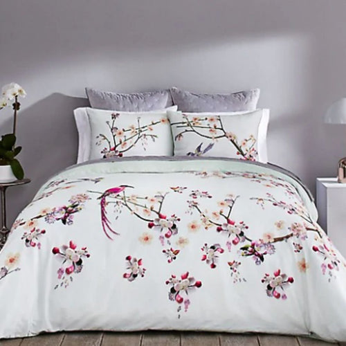 Ted Baker Flight of the Orient 3-Piece Floral Duvet Cotton Cover Set, Mint Queen