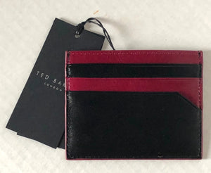 Ted Baker Men's Leather Contrast Edge Slim Card Holder Wallet, Black/Red NIB - Luxe Fashion Finds