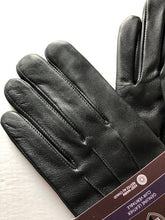Load image into Gallery viewer, Black Brown 1826 Men's Nappa Leather Fleece Lined Black Adjustable Gloves, Large