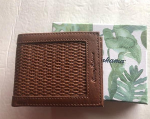 Tommy Bahama Men's Key Largo Brown Leather Passcase Billfold Bifold Wallet