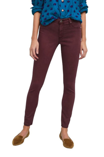 AG Goldschmied Women's Abbey Ankle Sateen Mid-Rise Skinny Crop Jeans - Red. - Luxe Fashion Finds