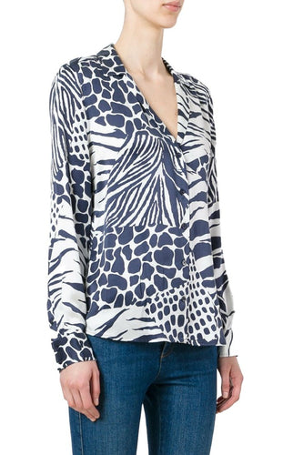 Equipment Women's Adalyn Silk Animal Print V-Neck Blue Button Up Shirt - Luxe Fashion Finds
