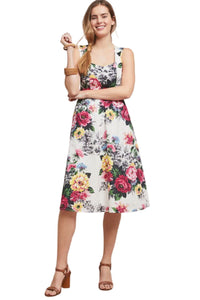 Anthropologie Women's Sleeveless Fit & Flare Vintage Rose Floral Cotton Dress – 12 - Luxe Fashion Finds