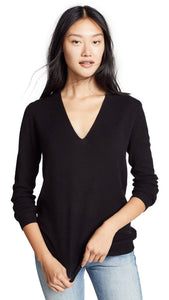 Theory Women's Adrianna Featherweight Cashmere V-Neck Black Sweater - XS (P)