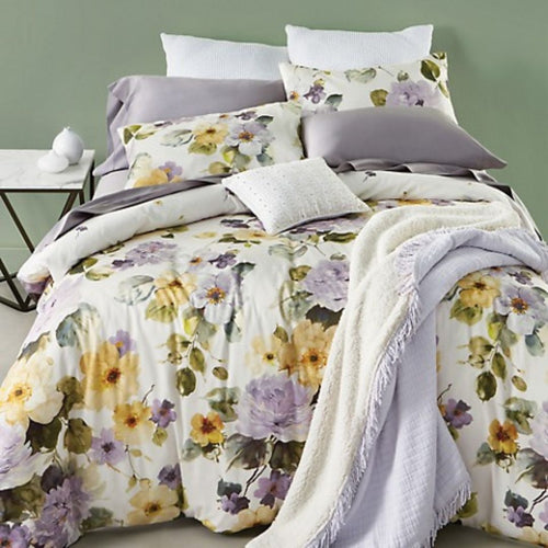Boutique Floral 3-Piece Cotton Oeko-Tex Reversible 92x90 Duvet Cover Set, Queen