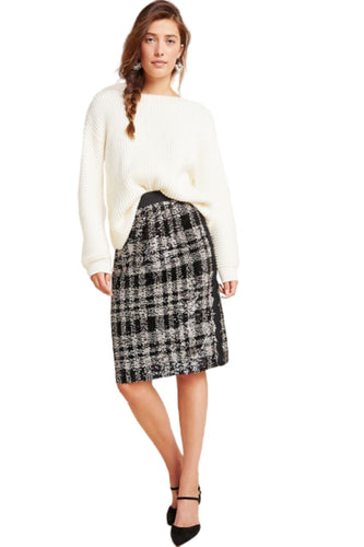 Anthropologie Women's Anna Sui Black Plaid Sequin Shimmer Pencil Skirt - XS - Luxe Fashion Finds