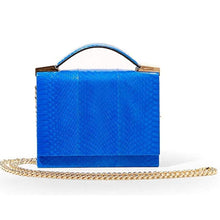 Load image into Gallery viewer, Brian Atwood Women's Aston Blue Snakeskin Chain Crossbody Clutch Handbag - Luxe Fashion Finds