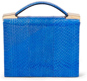 Brian Atwood Women's Aston Blue Snakeskin Chain Crossbody Clutch Handbag - Luxe Fashion Finds