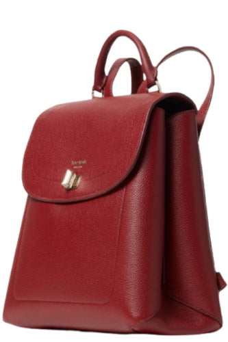 Kate Spade Pebbled Leather Turnlock Red Backpack