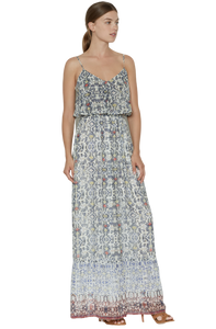 Joie Balla Silk Geometric Print Ruffle Spaghetti Strap Maxi Dress – Large. - Luxe Fashion Finds