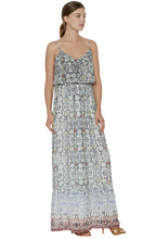 Load image into Gallery viewer, Joie Balla Silk Geometric Print Ruffle Spaghetti Strap Maxi Dress – Large. - Luxe Fashion Finds