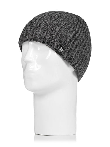 Heat Holders Men's Fine Rib-Knit Thermal Insulated Beanie Hat Toque, O/S