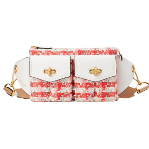 Kate Spade Women's Cargo Tweed Leather Medium Sling Belt Bag, White/Pink