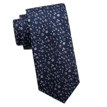 Load image into Gallery viewer, Black Brown 1826 Men's Embroidered Floral Classic-Fit Silk Tie, Blue/Pink - Luxe Fashion Finds