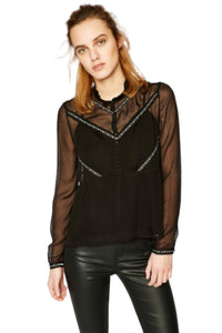 Kooples Women's Floral Muslin Shear Long Sleeve Ruffle Neck Black Blouse - XS. - Luxe Fashion Finds