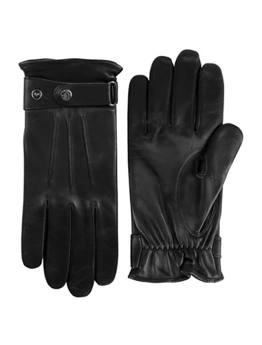 Black Brown 1826 Men's Nappa Leather Fleece Lined Black Adjustable Gloves, Large