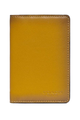 Coach Men's Slim Yellow Leather Card Wallet w Colorblock Signature Canvas, 89207