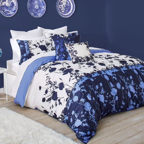 Ted Baker Bluebell 3-Piece Blue Floral Duvet Cotton Cover Set 92x96 - Full/Queen